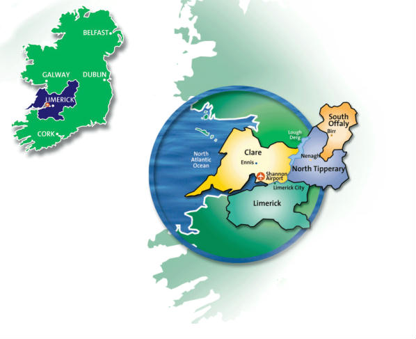 Ireland's Shannon Region Map - Limerick, Clare, North Tipperary and South Offaly